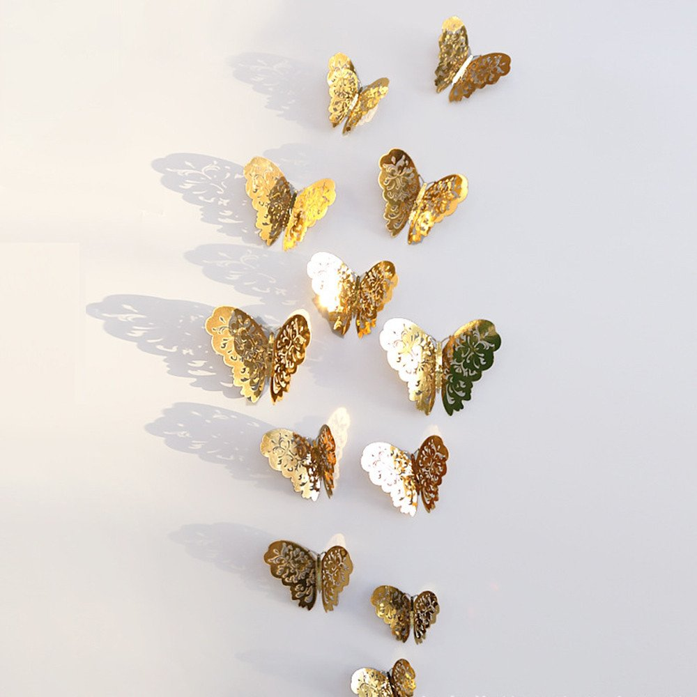 Pet1997 12 Pcs New 3D Hollow Butterfly Wall Stickers, Butterfly Fridge for Home Decoration - Gold & Silver - 3 Size: 12CM (4pcs), 10CM (4pcs), 8CM (4pcs) (A Gold)