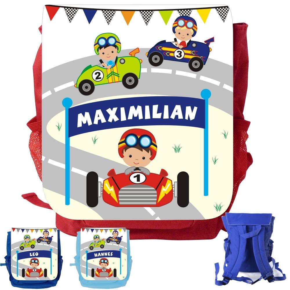 MissRompy Rennauto (874) Rucksack mit Name Kinderrucksack Kita Kindergartenrucksack Kindertasche