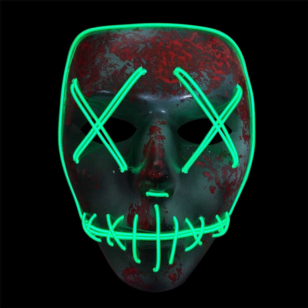 Amazon.com: Yunhigh Halloween Costume Mask Luminous Full Face Skeleton Scary Led Light Glow in Dark: Toys & Games