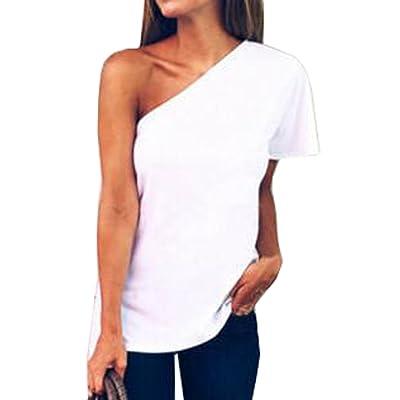 Été Femme Casual Couleur Unie Chemisiers Blouses Tops Fashion Épaule Oblique Manches Courtes T-Shirts Haut Sweatshirts