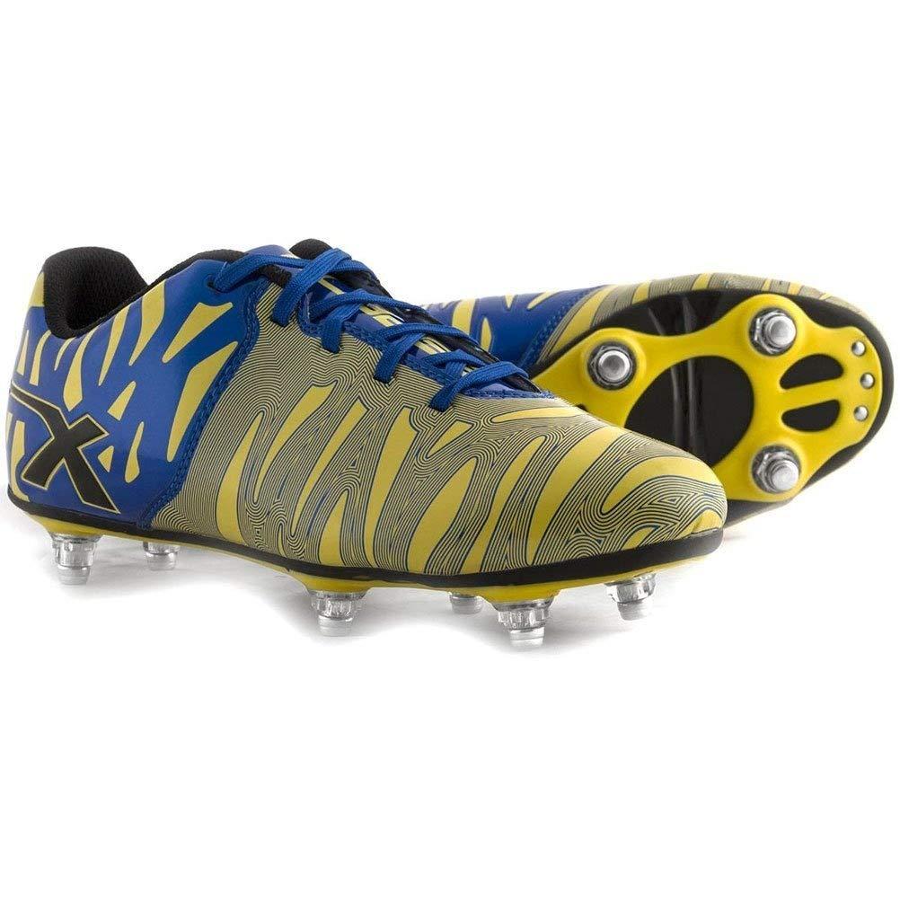 X Blades Wild Thing 6 Stollen SG Rugbystiefel Gelb Blau
