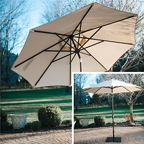 Abba Patio Sunbrella Patio Umbrella 9 Feet Outdoor Market Table Umbrella with Auto Tilt and Crank, Beige by Abba Patio (Image #1)