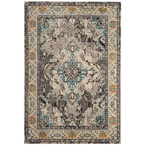 Safavieh Monaco Collection MNC243G Vintage Oriental Grey and Light Blue Distressed Area Rug (2'2 x 4')