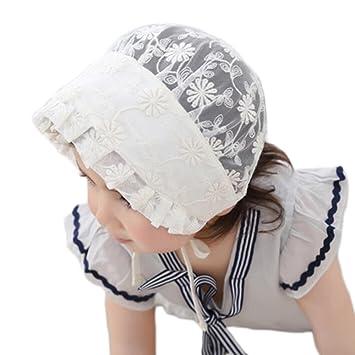 2283b8fd7157 Estamico bébé fille Dentelle baptême Mariage Cap Infant ruban d été Chapeau  de soleil Blanc