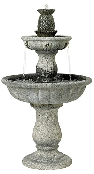 Classic Two Tier 37u0026quot; High Reconstituted Granite Fountain
