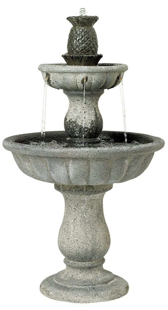 Classic Two-Tier 37'' High Reconstituted Granite Fountain by John Timberland