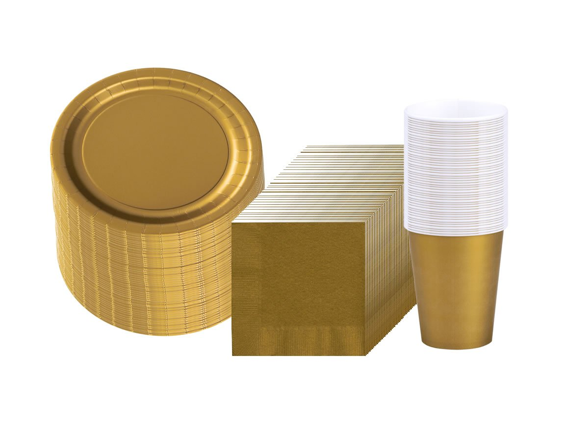 Glittering Gold (Gold) Party Supplies Pack Including Plates, Cups, and Napkins- 48 Guests
