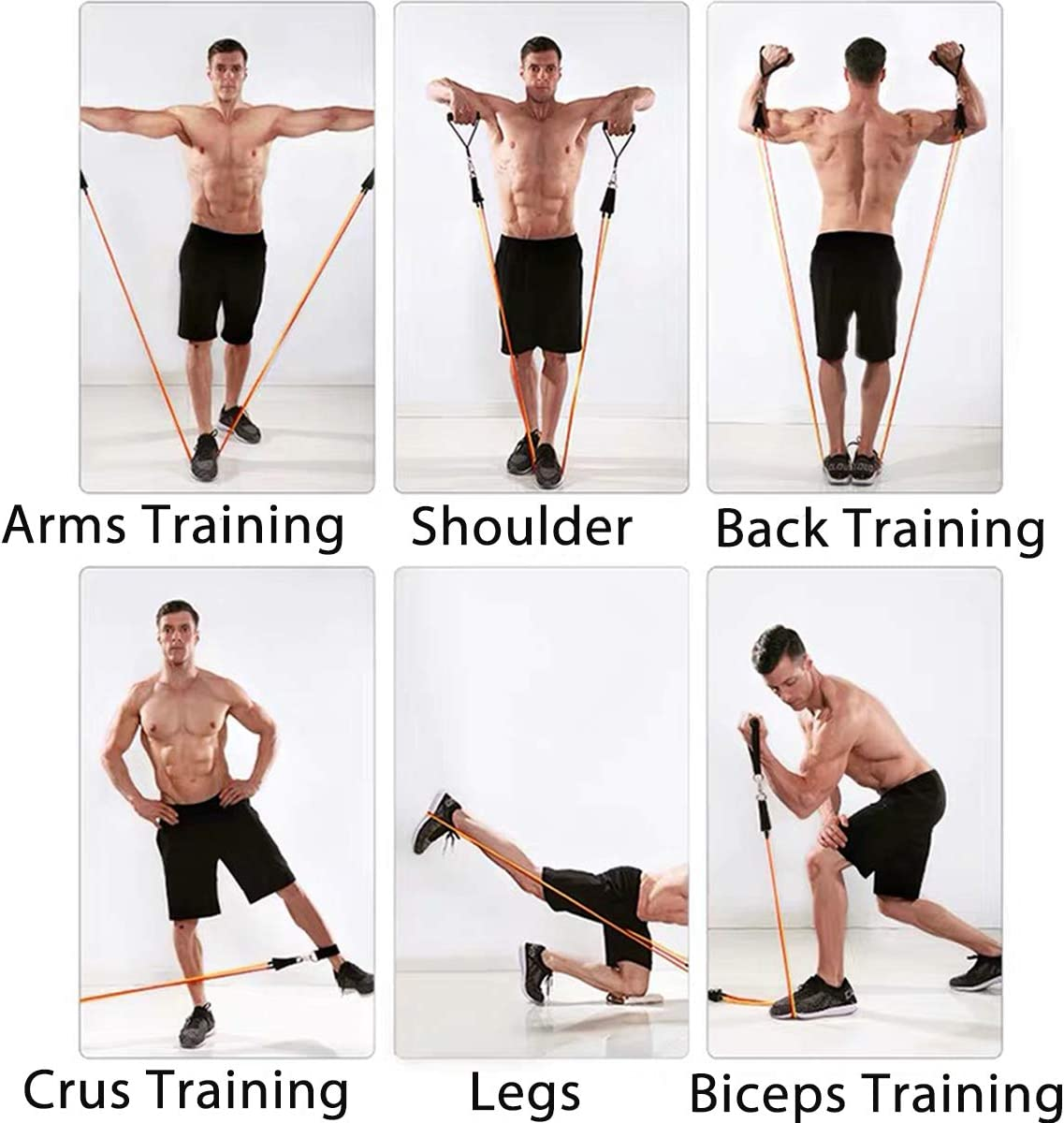 Kit elástico de musculación, 5 bandas de resistencia con banda de resistencia, figura 8 y accesorios para fitness y musculación hombre mujer deporte ...