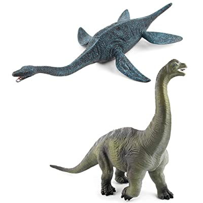 EOIVSH 2 Pack Dinosaur Figure Toys Brachiosaurus & Plesiosaur, Jumbo Jurrasic World Realistic Dinosaur Playset Party Favors Collection Gift for Kids Children: Toys & Games