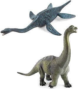 2 Pack Large Dinosaur Figure Toys Brachiosaurus & Plesiosaur, Jumbo Realistic Dinosaur Playset Party Favors Collection Gift for Kids Children