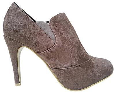 7e698da916f6 Bottine Talon Aiguille Haut Talon Femme Chaussures Mode Sexy Élégante F76  Taupe (39)