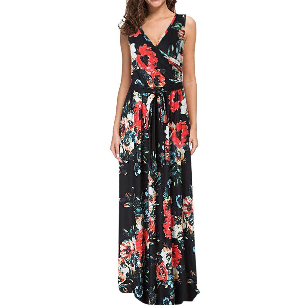 Women Bohemian Maxi Dress - Sexy V Neck Lace-up Wrap Bodice Sleeveless Sheath Crossover Print Long Dresses