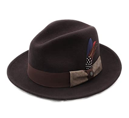 Stetson Fedora Hat Wool Felt Men Virginia Woolfelt - Size L  Amazon ... ecfa2ae9ffa9