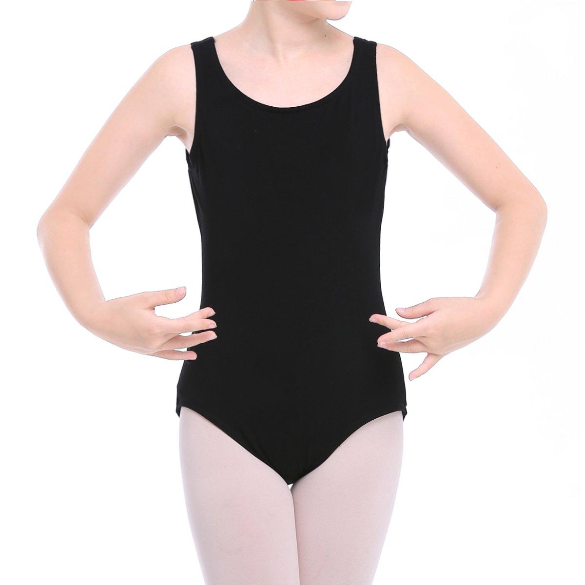 STELLE Toddler/Girl's Cotton Tank Leotard for Dance, Gymnastics and Ballet (Toddler/Little Kid/Big Kid)(L, Black)