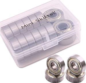 Mini Skater 16 PCS Silver Generic ABEC Precision 608 Zz Skate Ball Bearing Deck Longboard Bearings (16 Hulled)