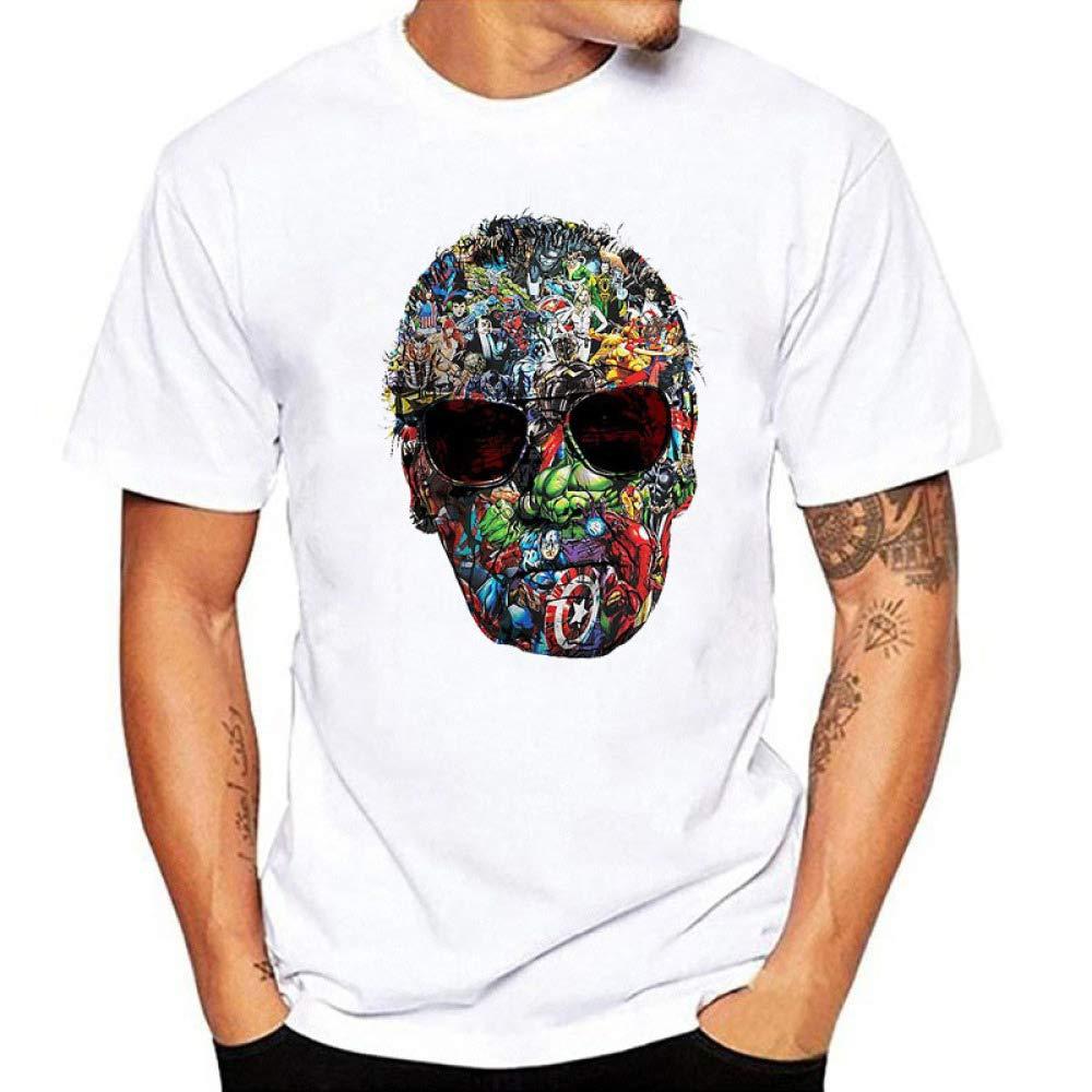 JJZHY T-Shirt con Stampa Stan Lee Maglietta con Stampa Marvel Hero Fashion