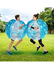 SUNSHINEMALL 1 PC Bumper Balls, Inflatable Body Bubble Ball Sumo Bumper Bopper Toys, Heavy Duty Durable PVC Vinyl Kids Adults Physical Outdoor Active Play (1pcs Blue+Clean, 36inch)