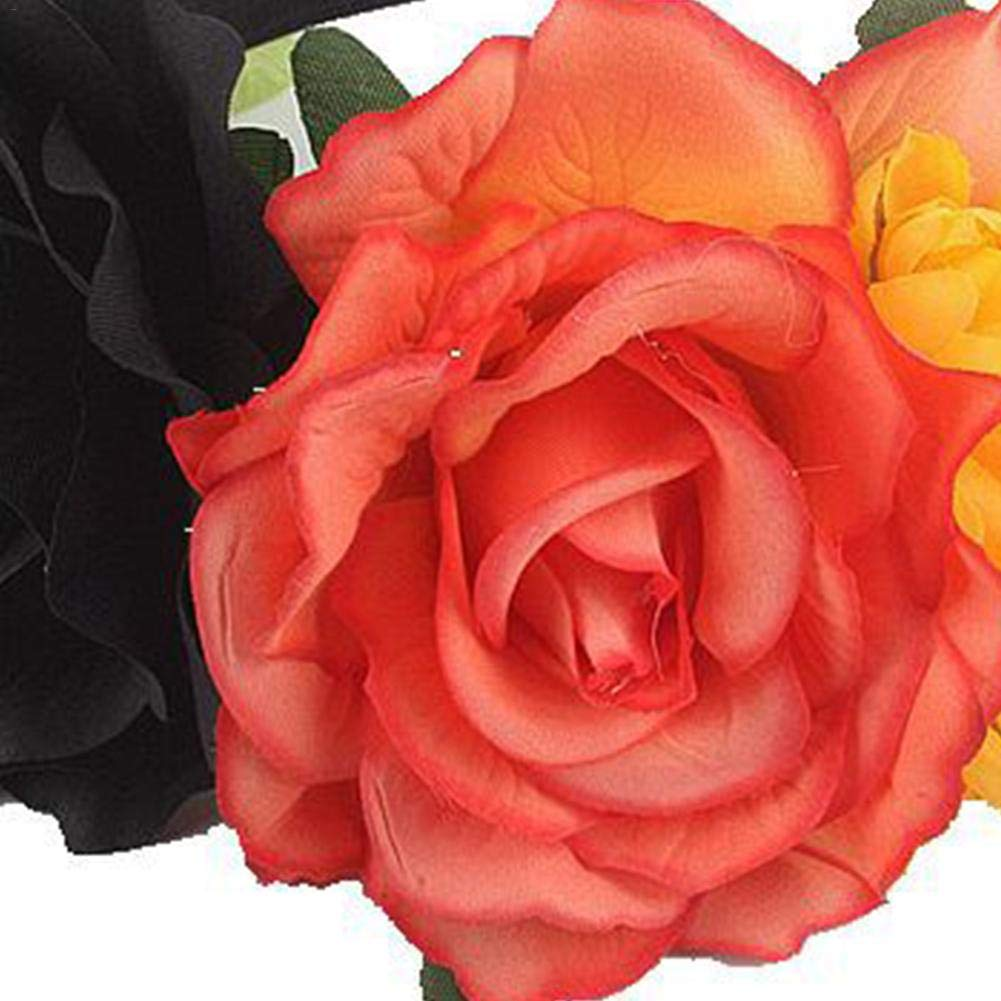 Lembeauty Multicolor Rose Christmas Headband Garland Headpiece Flower Hair Accessory for Wedding Party
