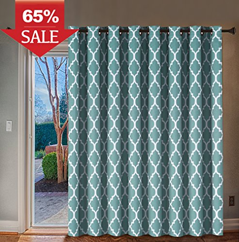 H.VERSAILTEX Thermal Insulated Room Divider/Quatrefoil Pattern Blackout Patio Curtains,Antique Grommet Sliding Door Curtain for Large Window, W100 x L84 inch-Teal