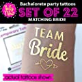 Bachelorette Party Tattoos by Tats4Now Set of 22 Gold Metallic Tattoos Team Bride Bachelorette Party temporary tattoos, fake tattoos, metallic gold bach tats, bridesmaid gift