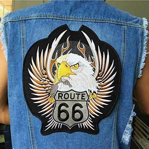Iron On Route 66 Motorcycles Patches For Clothing Big Punk Letter Bike Patches