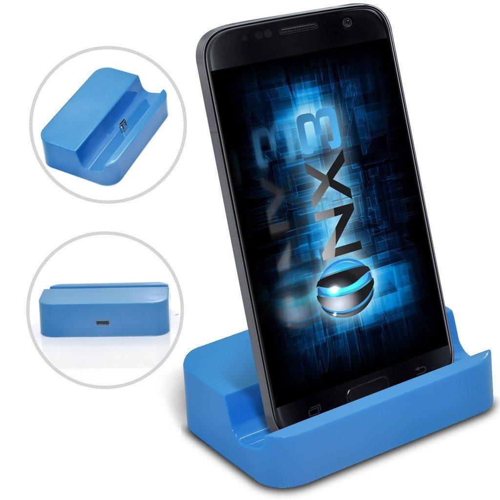 (Blue) Motorola Moto G4 Plus Desktop USB Base Stand Data Sync Charging Dock Station ONX3