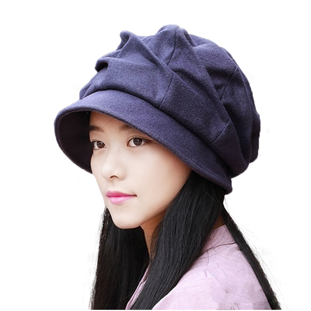 52be7eb6433 doublebulls hats Pleated Beret Plain Cloche Hat Womens Ladies Winter Hat  Short Brim-Multisize Color at Amazon Women s Clothing store