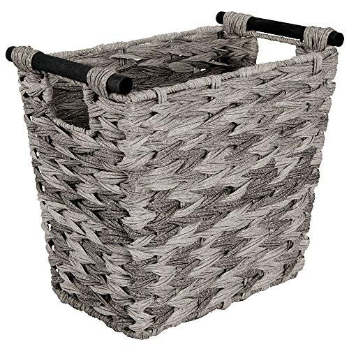 mDesign Small Woven Basket Trash Can Wastebasket - Rectangular Garbage Container Bin with Wood Handles for Bathrooms, Kitchens, Home Offices, Craft, Laundry, Utility Rooms - Gray/Black