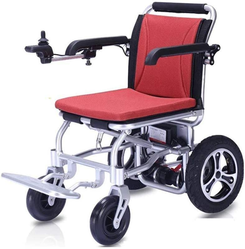 Ruedas de aleación de aluminio de peso ligero eléctrica plegable, portátil de viaje de tránsito de energía Vespa silla de ruedas, sillas de ruedas Travel Aviación Segura motorizado for ancianos discap
