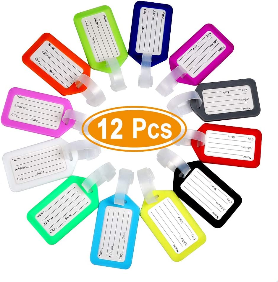 12 Pcs Luggage Tags with Lanyard, 3.4×1.9'' Durable Plastic ID Labels Bag for Travel, Waterproof ID Tags Airplane Suitcase Labels, Multi-Color Name Tags