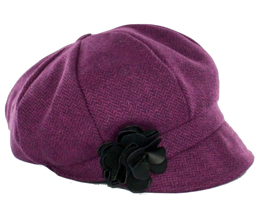 Mucros Weavers Ladies Newsboy Hat Burgundy Herringbone