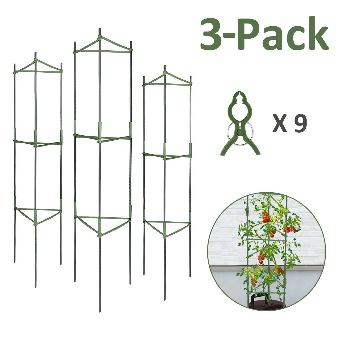 GROWNEER 3-Pack Plant Cages Assembled Tomato Garden Cages Stakes Vegetable Trellis, w/ 9Pcs Clips, for Vertical Climbing Plants by GROWNEER