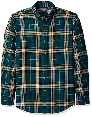 Arrow Men's Saranac Flannel Long Sleeve Button Down Shirt, Deep Teal XX-Large