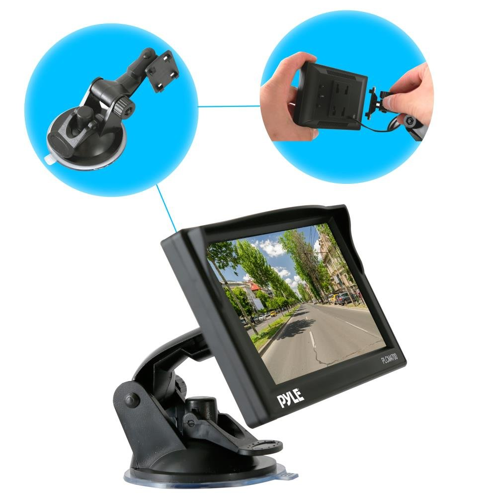Wide Angle Lens Cam 4.7 Monitor Display Screen Distance Scale Line - Pyle Backup Car Camera Rearview Monitor System Parking /& Reverse Assist with Waterproof and Night Vision Abilities PLCM4700