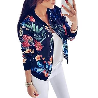 amiubo Mujer Moda Casual Estampado Floral Chaquetas Cortas Cremallera Abrigo Outwear Chaquetas