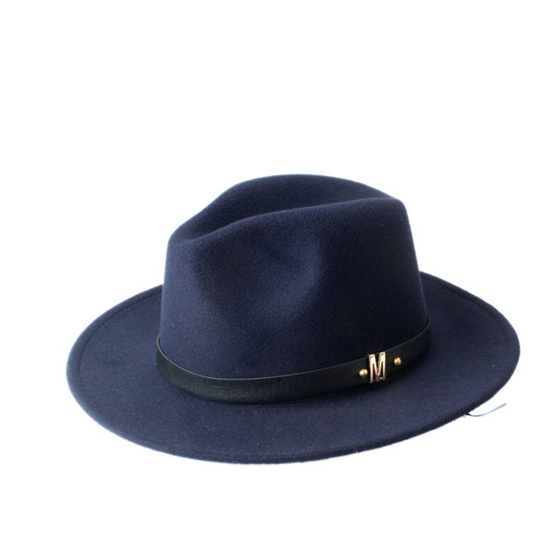 Women Men Unisex Fashion Blower Fedora Wool Felt Jazz Dance Sun Hat Trilby Derby Leather Band Gangster Cap 57-58cm,OneSize,Navy