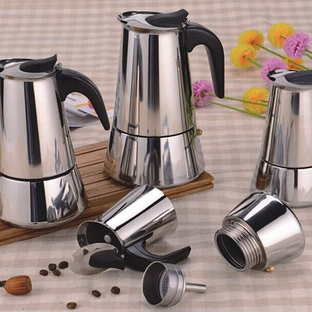 15x7.8cm 7Lucky cafeti/ère cafeti/ère Tropicale en Acier Inoxydable Moka Espresso Latte Percolator