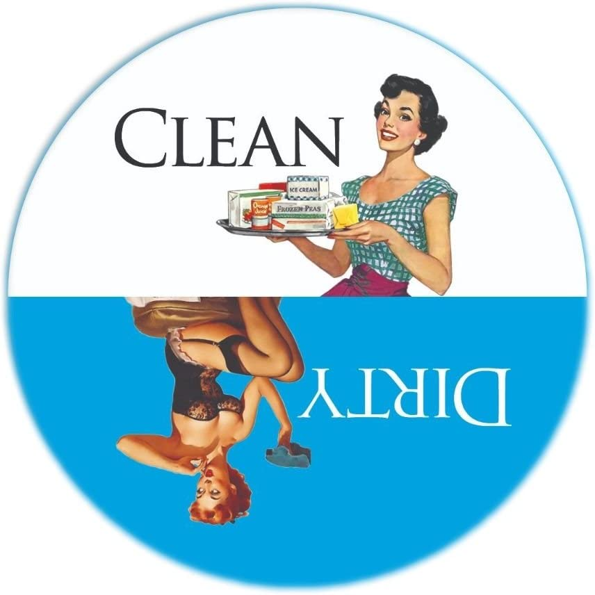 "Aloha Girls Gifts Big 3.5"" Dirty Clean Dishwasher Magnet Ends Common Kitchen Problem. Adheres to Any Surface. Blue and White."