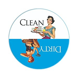 Clean Dirty Dishwasher Magnet Ends Kitchen Problem. Adheres to ANY Surface. Retro Housewife Theme. Blue and White.100% Handmade in the USA.