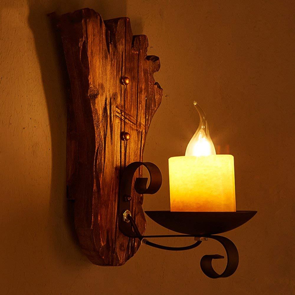 FXING Energieeinsparung verstellbare Wandleuchte-Amerikanische LOFT Massivholz Glasschirm Retro Nostalgie Wandleuchte Restaurant Kaffee Wohnzimmer Gang Schlafzimmer Bett Wand Lampe (Nicht die Lichtqu