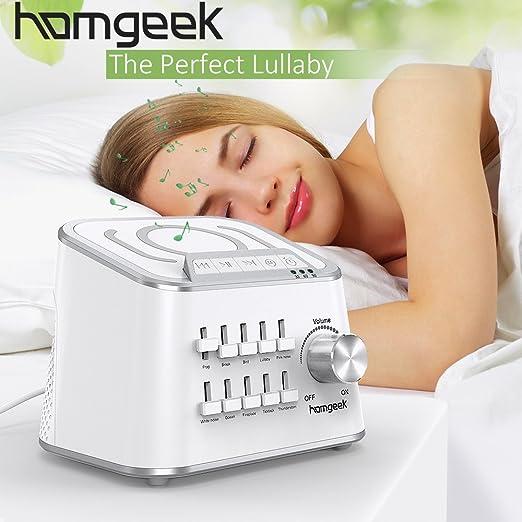 Homgeek White Noise Sound Machine, Nature Sounds Machine,Baby Noise Sound Machine,Sleep Therapy Sound Machine Customize Sound,Dual Volume Adjustment Timer Function