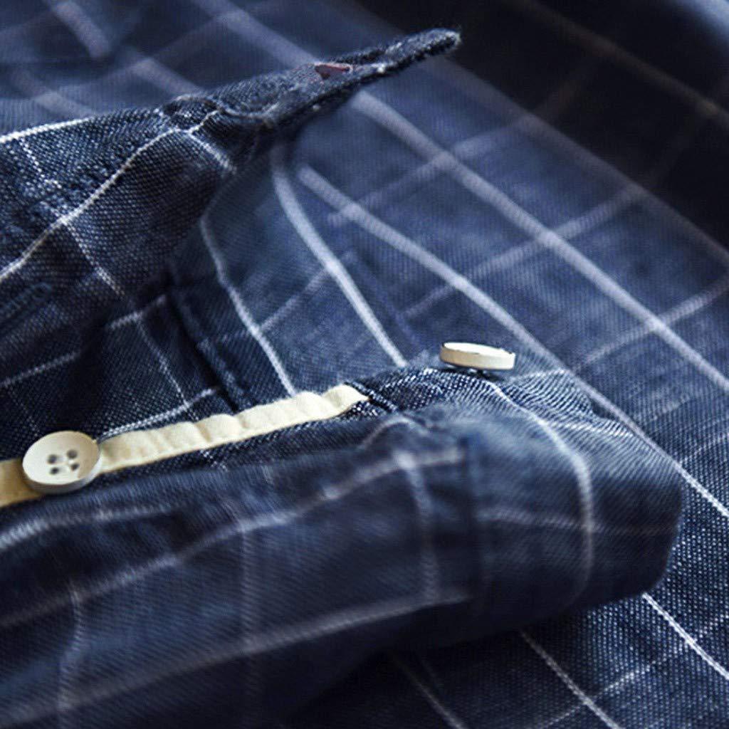 Palalibin Mens Plaid Shirt Baggy Embroidery Cotton Linen Shirt Stripe Long Sleeve Button Plus Size T-Shirts
