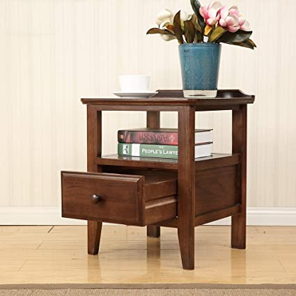 Amazon.com: Solid Wood End Table with Drawer, Square Corner ...