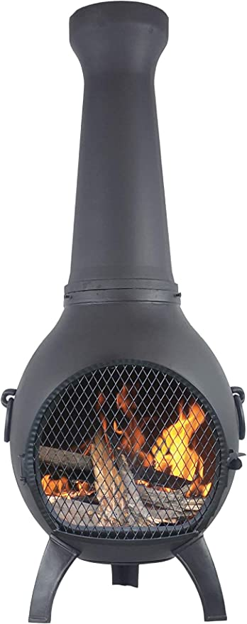 The Blue Rooster Cast Aluminum Prairie Wood Burning Chiminea In Charcoal Amazon Co Uk Garden Outdoors