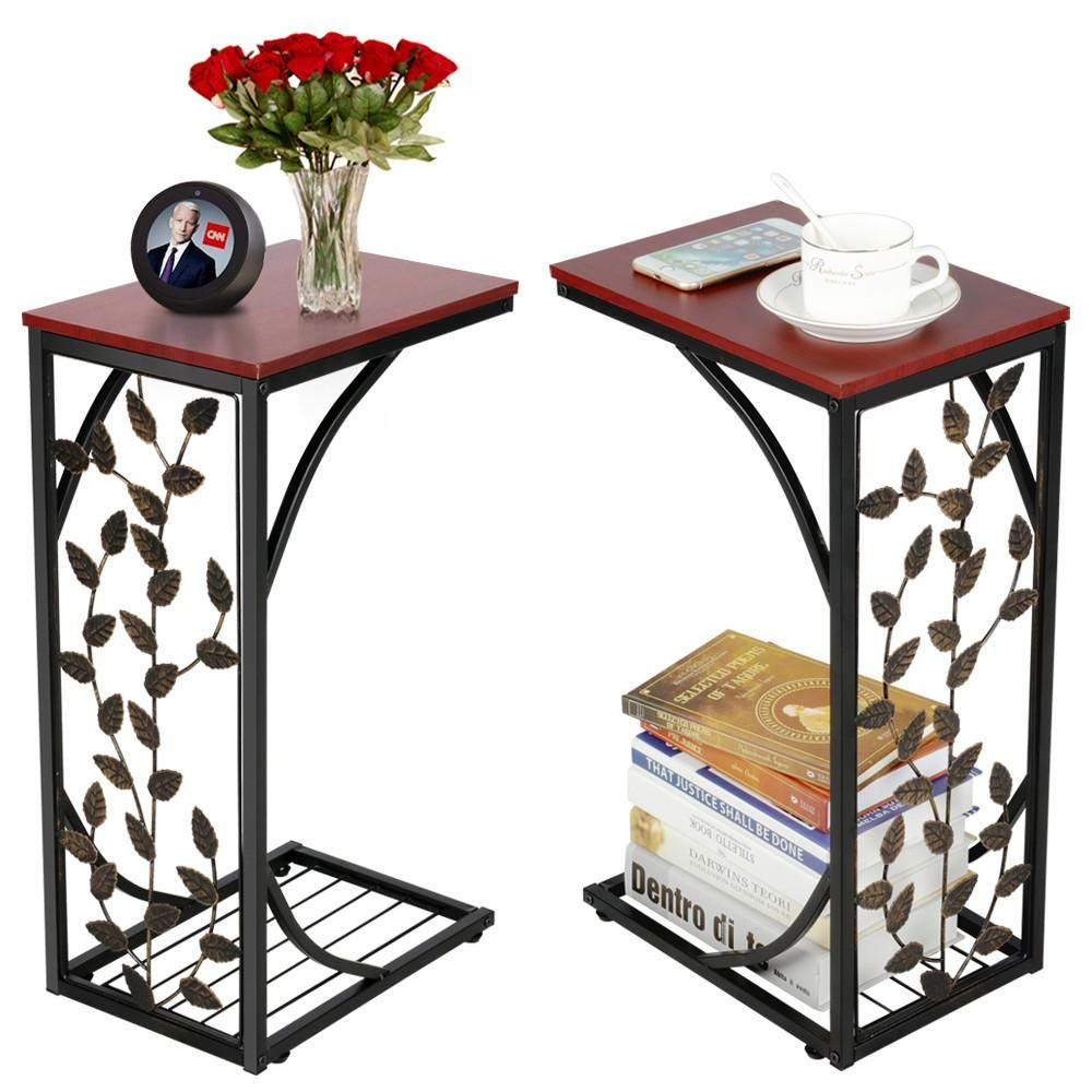 Yaheetech sofa side and end table bronze metal frame wooden top with elegant leaf design necessity in your living room to keep books phone