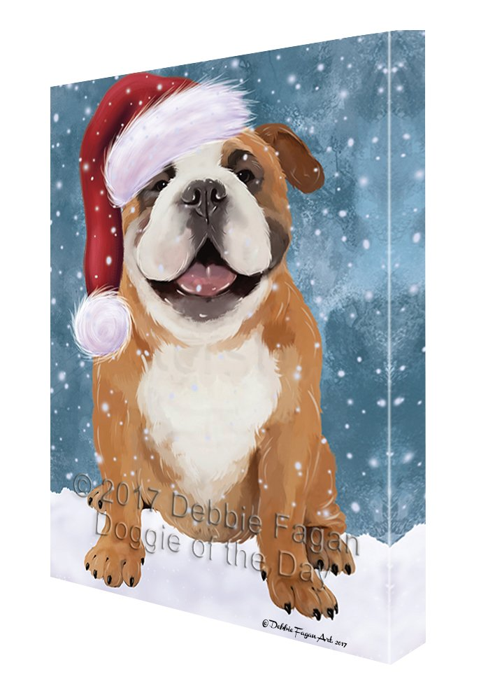 Let it Snow Christmas Holiday English Bulldog Dog Wearing Santa Hat Canvas Wall Art D229 (16x20)