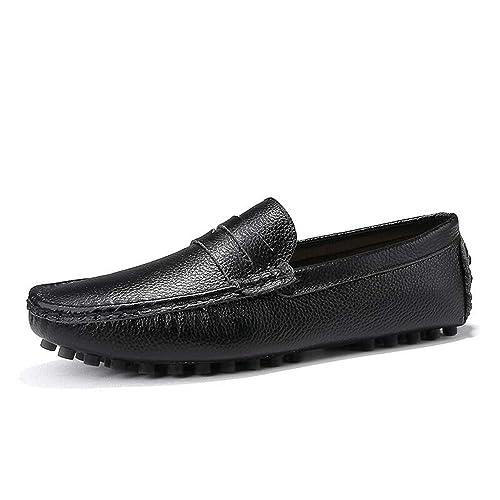 Marca 2019 Nuevos Hombres Mocasines Transpirable Zapatos de Cuero Genuino para Hombre Zapatos para Conducir s Barco de Negocios Top Hombres Zapatos: ...