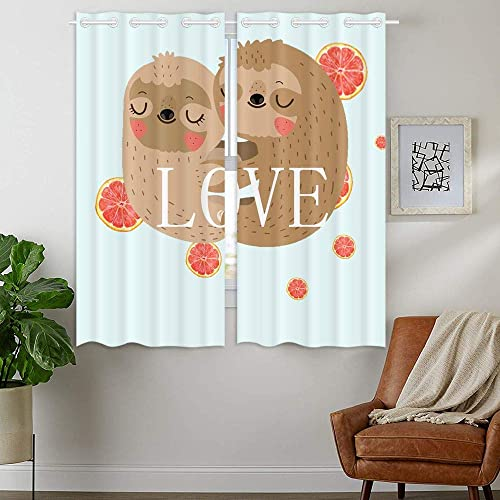 YISUMEI Loving Cute Sloth Blackout Window Curtain 2 Panels 28 by 48 Inch