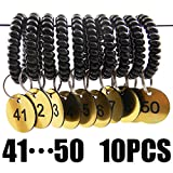 Shells 10PCS Plastic 30MM Diameter Round Shape Session ID Plates Number Tags Identification Tag Number Slip With Key Split Ring And Black Spiral Coil Wrist Ring 41-50