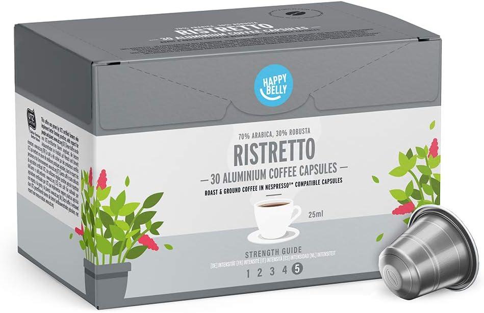 Marca Amazon - Happy Belly Ristretto Café UTZ molido de tueste natural en cápsulas de aluminio compatibles con Nespresso, 120 cápsulas (4x30)